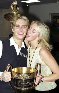 Paul Hunter celebrates his Masters win with his girlfriend Lindsey Fell