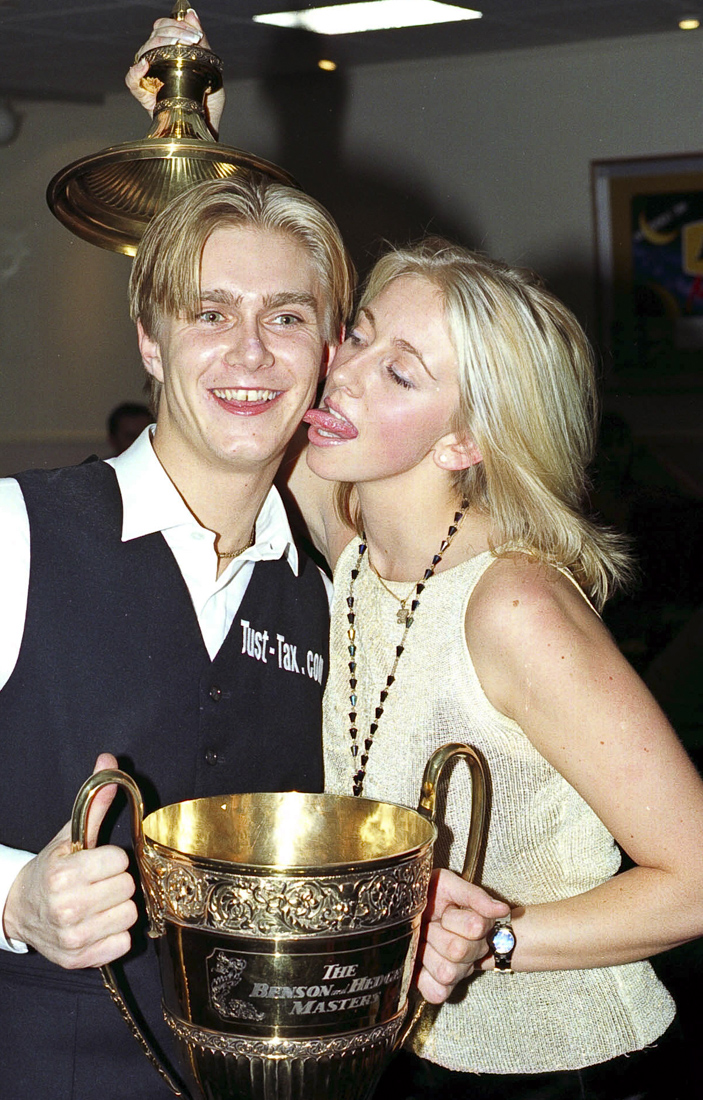 Paul Hunter celebrates Masters snooker victory with girlfriend Lindsey Fell