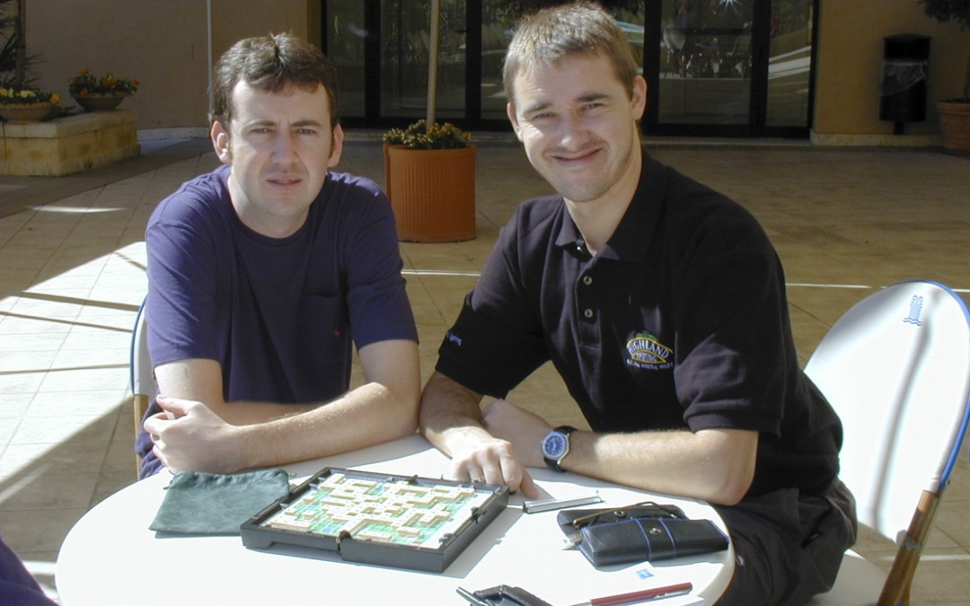 Mark Williams and Stephen Hendy soak up the sun and pass the time playing scrabble in Malta