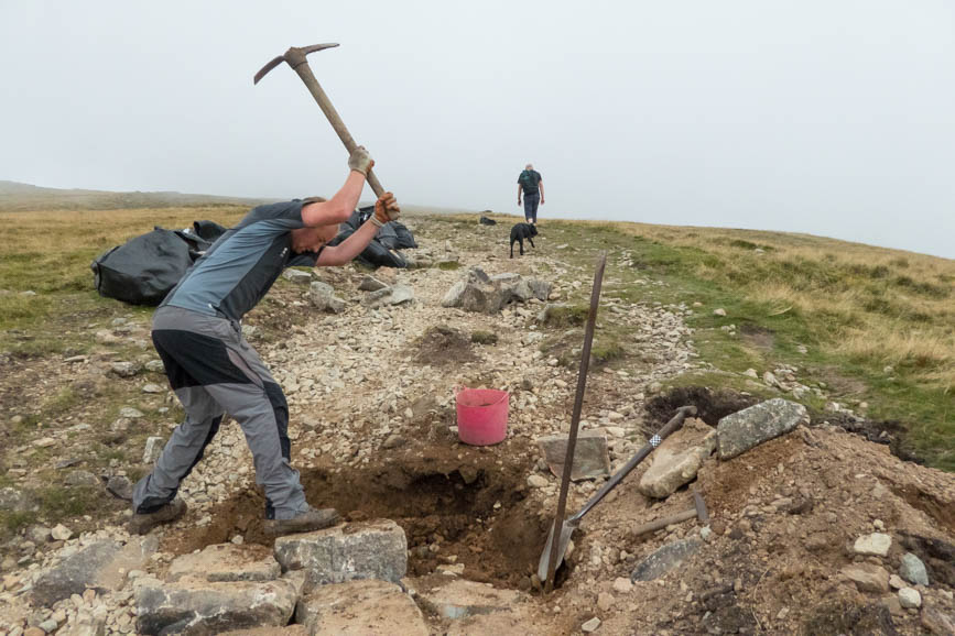 Team members from Fix the Fells working on the path to Crinkle Crags