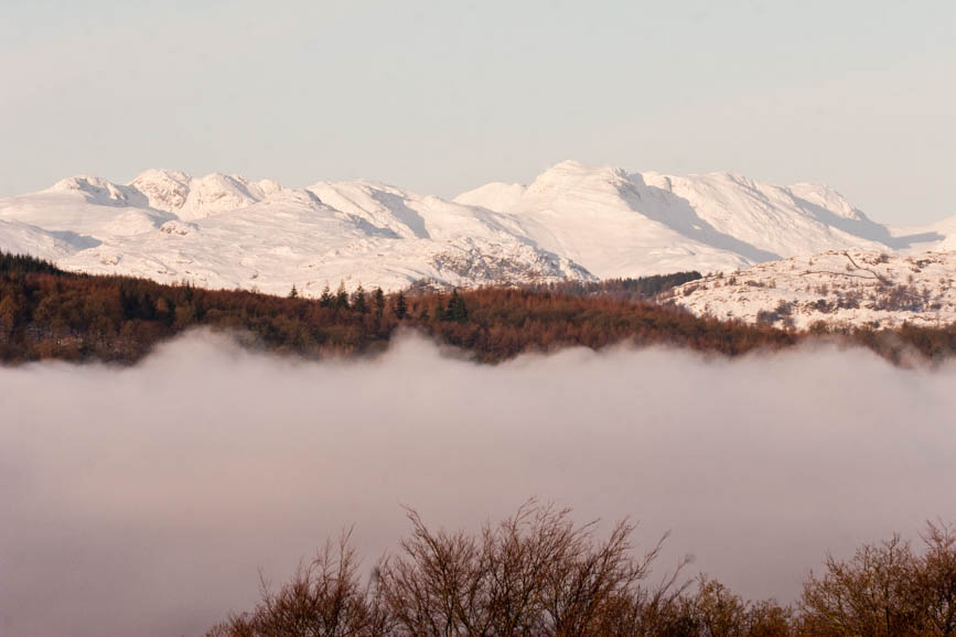 Snow on Crinkle Crags and Bowfell