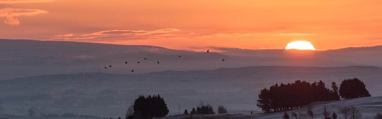 winter sunrise over kendal