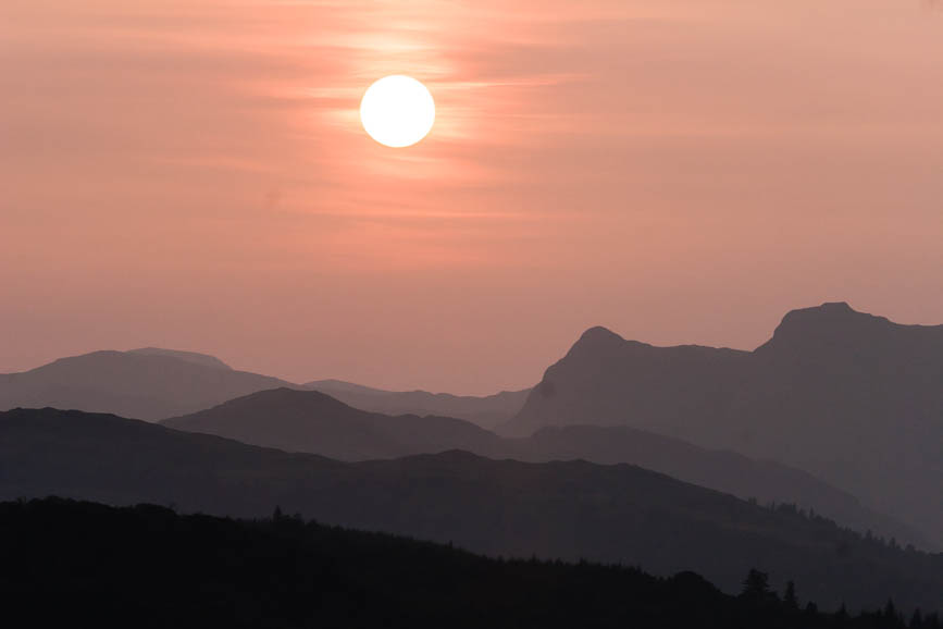 Sunset over the Langdale Pikes