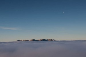 Coniston Old Man and Wetherlam, Lake District. Dawn temperature inversion